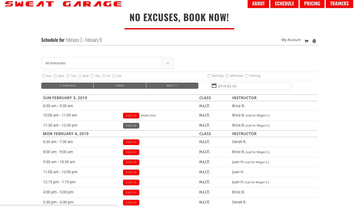 Online registration for gym classes embedded on a gym website